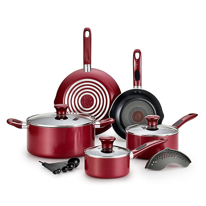 Alternate image 1 for T-Fal® Excite 14-Piece Cookware Set in Red
