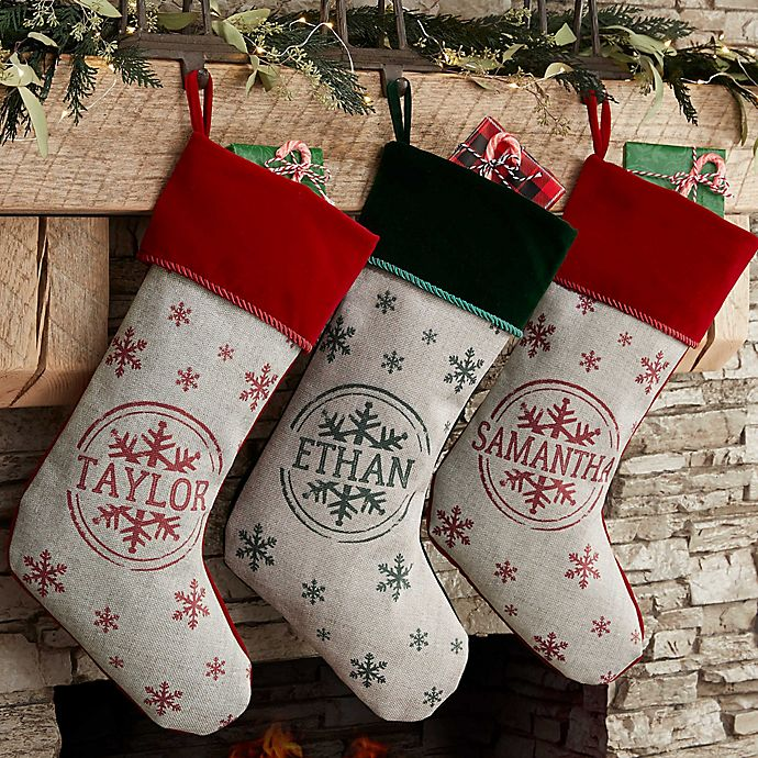 Christmas Stocking Personalized.Stamped Snowflake Personalized Christmas Stocking In Red