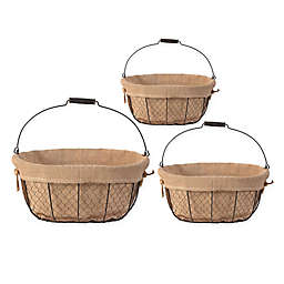 A&B Home Joyce Baskets with Canvas Cloth Liner (Set of 3)