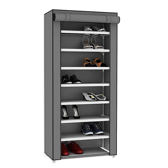 Alternate image 1 for Sunbeam® 8-Tier Covered Shoe Rack in Grey