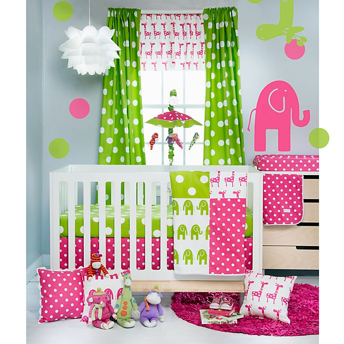 Alternate image 1 for Glenna Jean Ellie & Stretch Crib Bedding Collection in Pink/Green