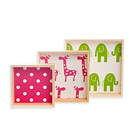 Glenna Jean Ellie & Stretch Block Wall Hangings in Pink/Green (Set of 3)
