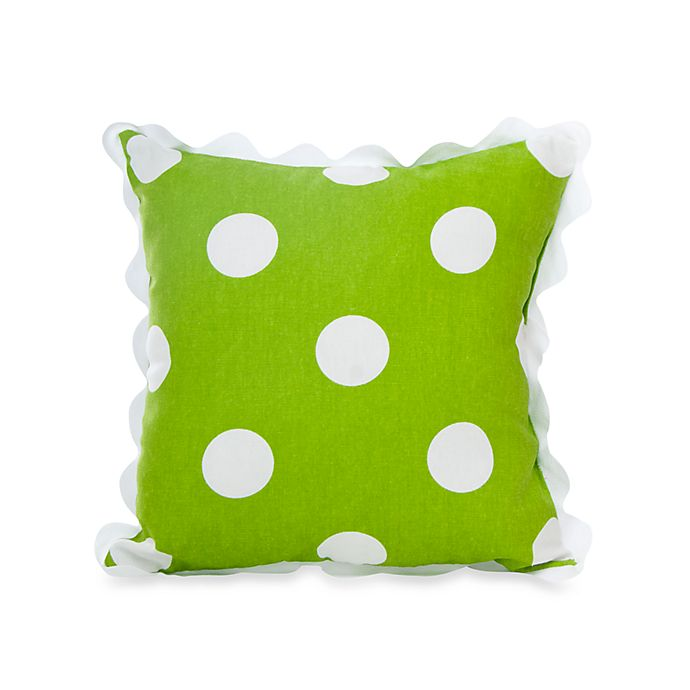 Alternate image 1 for Glenna Jean Ellie & Stretch Square Dot Throw Pillow with Rick Rack in Green