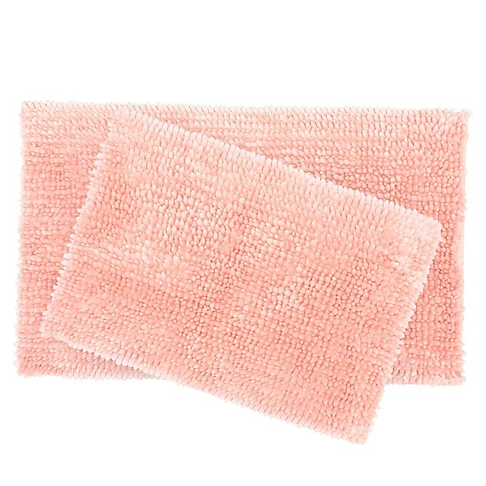 Alternate image 1 for Laura Ashley® Butter Chenille Bath Rugs in Pink Mist (Set of 2)
