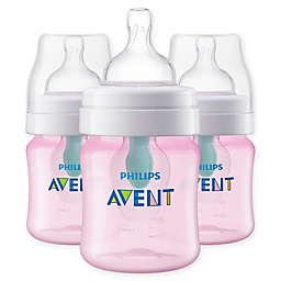 Philips Avent 3-Pack 4 fl. oz. Anti-Colic Wide-Neck Bottles with Insert in Pink