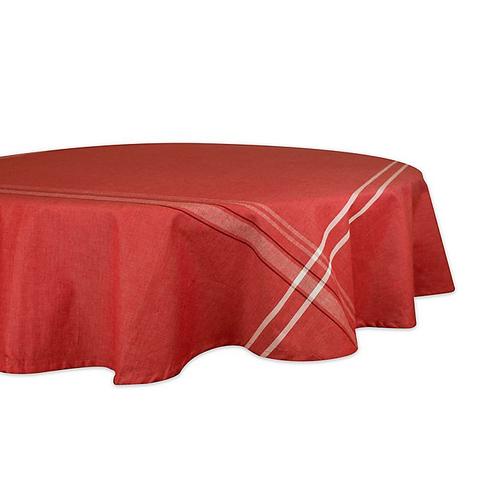 Alternate image 1 for Design Imports French Chambray 70-Inch Round Tablecloth in Red