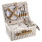 Over & Back Cafe Picnic Basket for 2 in White