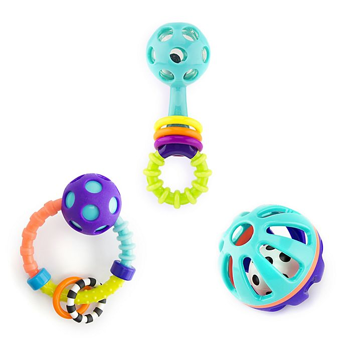 Alternate image 1 for Sassy 3-Piece Shake Rattle and Roll Gift Set