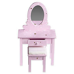 Olivia's Little World 18-Inch Doll Vanity Set with Stool in Purple Star