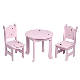 Olivia's Little World 18-Inch Doll Table with Chairs in Pink Star