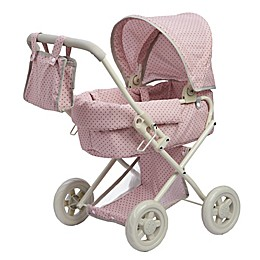 Olivia's Little World Polka Dots Princess Baby Doll Stroller in Pink/Grey
