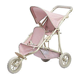 Olivia's Little World Polka Dots Princess Baby Doll Twin Jogging Stroller in Pink/Grey