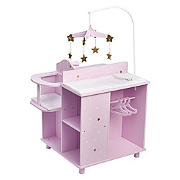 Olivia's Little World 18-Inch Doll Baby Changing Station with Storage in Purple