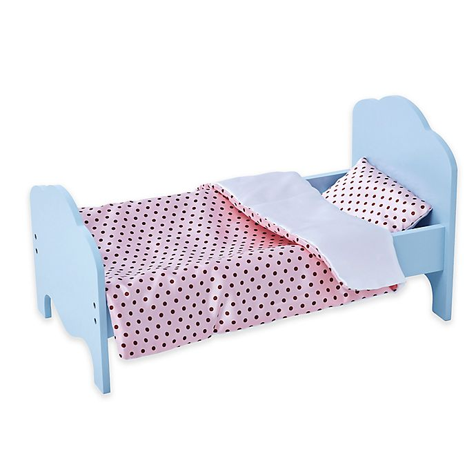 Alternate image 1 for Olivia's Little World 18-Inch Doll Bed with Dots Bedding