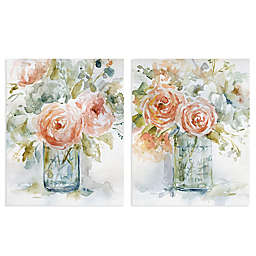 Masterpiece Art Gallery 2-Piece Rose Glow I & II Square Canvas Wall Art