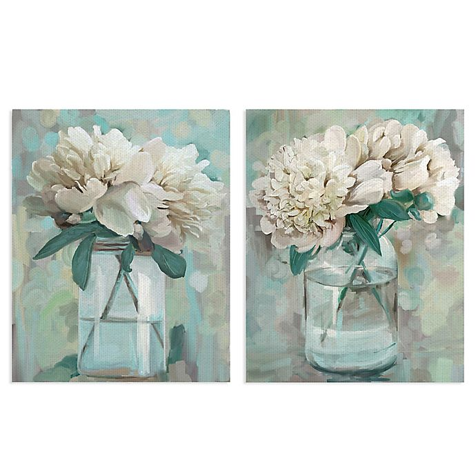 Alternate image 1 for Masterpiece Art Gallery 2-Piece Farmhouse Peonies I & II Canvas Wall Art