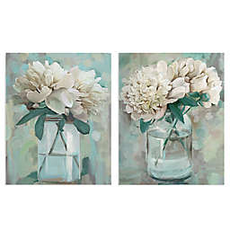 Masterpiece Art Gallery 2-Piece Farmhouse Peonies I & II 22-Inch x 28-Inch Canvas Wall Art