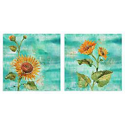 Arianna Sunflowers I & II Wrapped Canvas Wall Art (Set of 2)