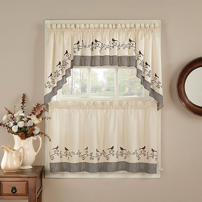 Alternate image 1 for Birds 24-Inch Window Curtain Tier Pair
