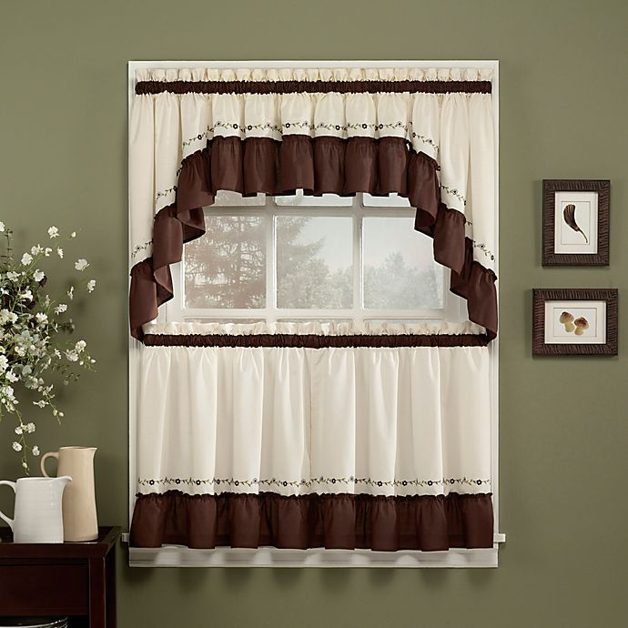 Alternate image 1 for Jayden 24-Inch Window Curtain Tier Pair in Chocolate