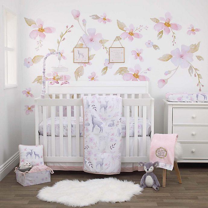 Alternate image 1 for NoJo® Watercolor Deer 4-Piece Crib Bedding Set in Pink