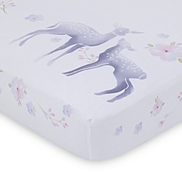NoJo® Watercolor Deer Fitted Crib Sheet in Pink