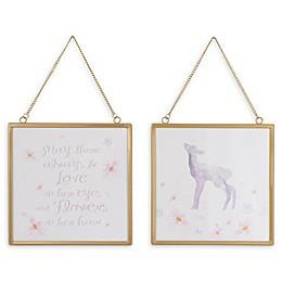 NoJo® Watercolor Deer 8-Inch Square Framed Wall Art (Set of 2)