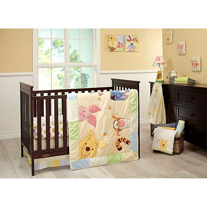 Alternate image 1 for Disney® Peeking Pooh 7-Piece Crib Bedding Set in Yellow