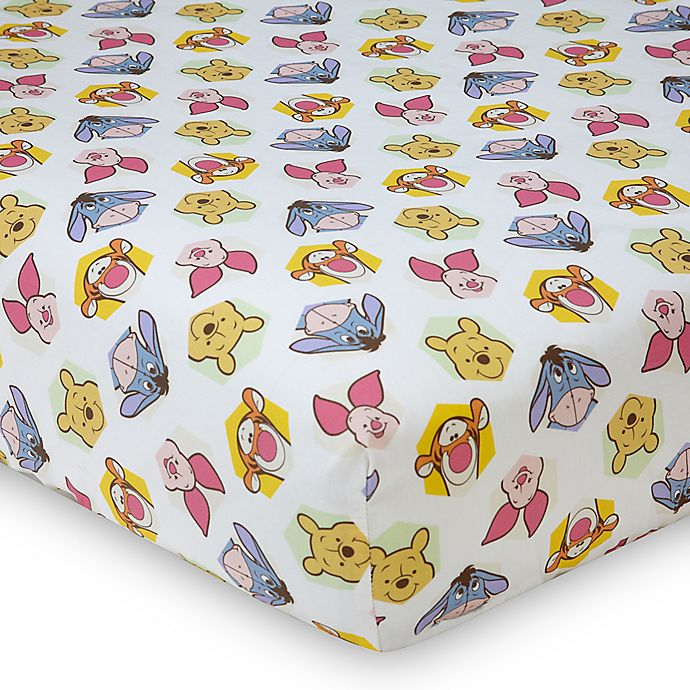 Alternate image 1 for Disney® Peeking Pooh Fitted Crib Sheet in Yellow