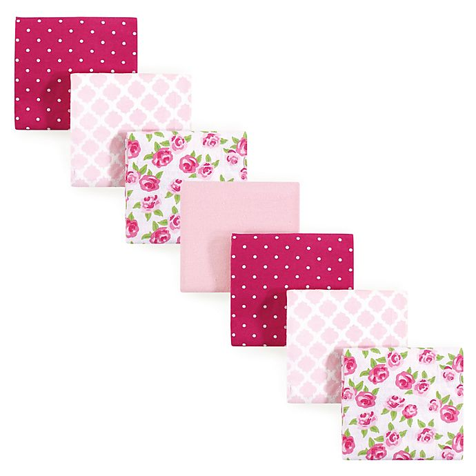 Alternate image 1 for Hudson Baby® 7-Pack Rose Flannel Receiving Blankets in Pink