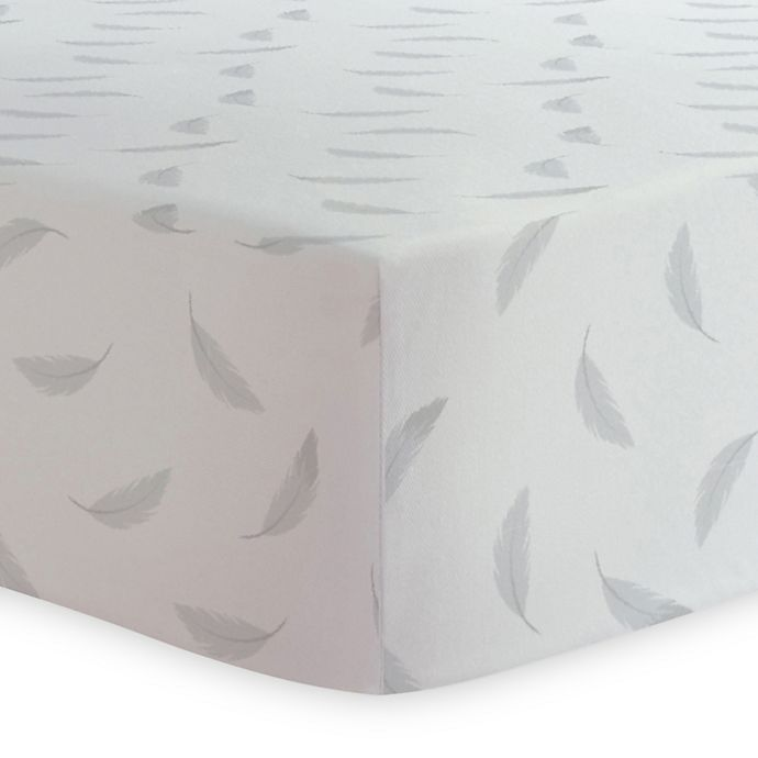 Alternate image 1 for Kushies® Feather Print Changing Pad Cover in Grey