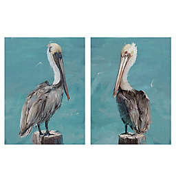 Masterpiece Art Gallery Perched Pelicans 2-Piece 24-Inch x 18-Inch Wrapped Canvas Wall Art Set