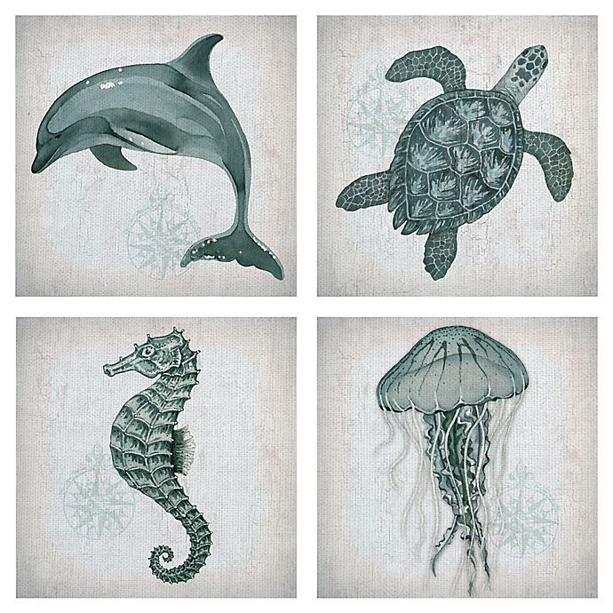 Alternate image 1 for Masterpiece Art Gallery 4-Piece Lynnea Washburn Sea Creatures 12\