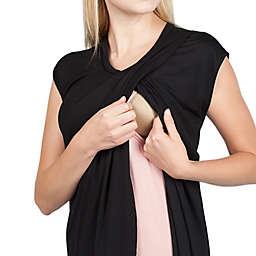 Savi Mom Scoop-Neck Extra Small Maternity Tunic in Black