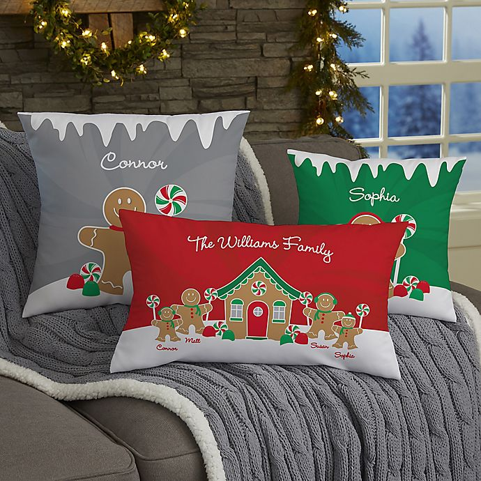 Alternate image 1 for Gingerbread Family Personalized Throw Pillow Collection