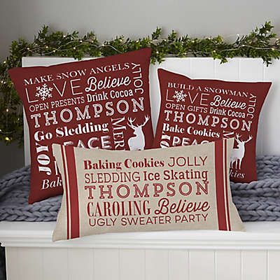 Personalized Holiday Traditions Throw Pillow