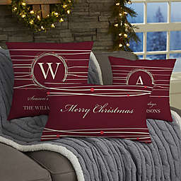 Holiday Wreath Personalized Throw Pillow