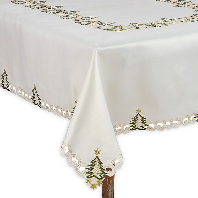 Alternate image 1 for Saro Lifestyle Pandoro 67-Inch x 104-Inch Oblong Tablecloth in Ivory