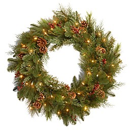 National Tree Company Battery-Operated 30-Inch Decorative Collection Noble Mixed Pre-Lit Wreath