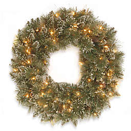 National Tree Company 30-Inch Pre-Lit Glittery Bristle Pine Wreath with Clear Lights