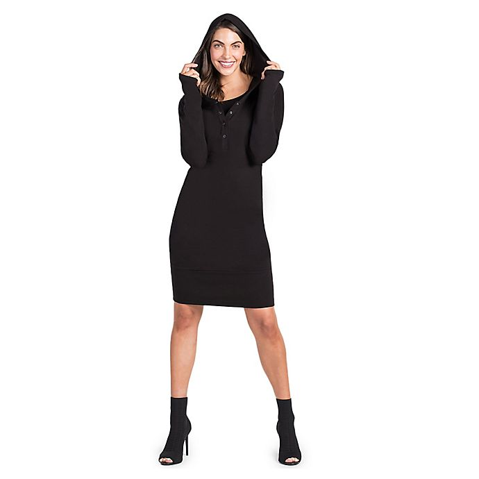 Alternate image 1 for Savi Mom Stella Hoodie Small Maternity Dress in Black