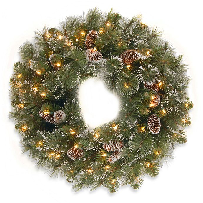 Alternate image 1 for National Tree Company Glittery Pine 24-Inch Wreath Pre-lit with 50 Clear Lights