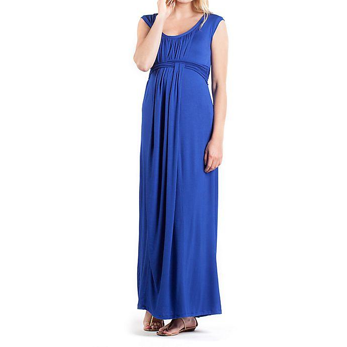 Alternate image 1 for Athens Maternity Maxi Medium Dress in Blue