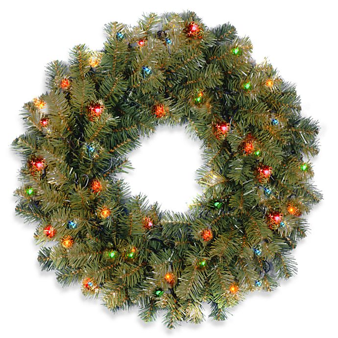 Alternate image 1 for National Tree Company 2-Foot Kincaid Spruce Pre-Lit Wreath with Multicolor Lights