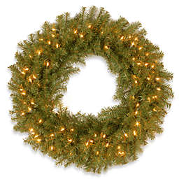 National Tree Company 30-Inch Pre-Lit Norwood Fir Wreath with Clear Lights