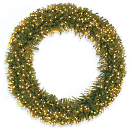 National Tree Company 72-Inch Pre-Lit Norwood Fir Wreath with Clear Lights