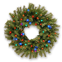 National Tree Company 24-Inch Pre-Lit Norwood Fir Wreath with Multicolor LED Lights