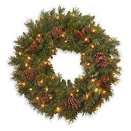 National Tree Company 2-Foot Pine Cone Wreath Pre-Lit with 50 Clear Lights