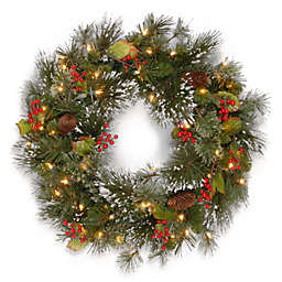 National Tree 2-Foot Wintry Pine Pre-Lit  Wreath with Clear Lights