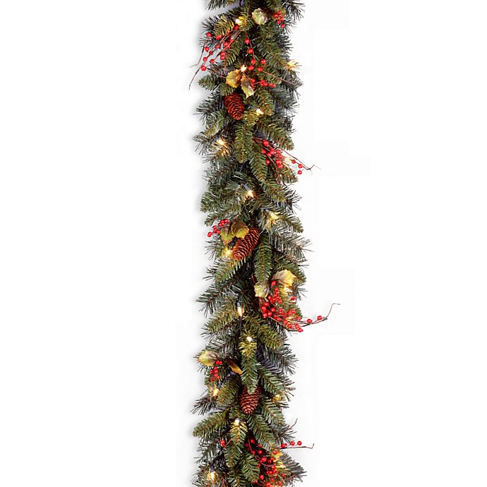 Alternate image 1 for National Tree Company 9 Feet x 10 Inches Classical Collection Pre-Lit Garland with 50 Clear Lights